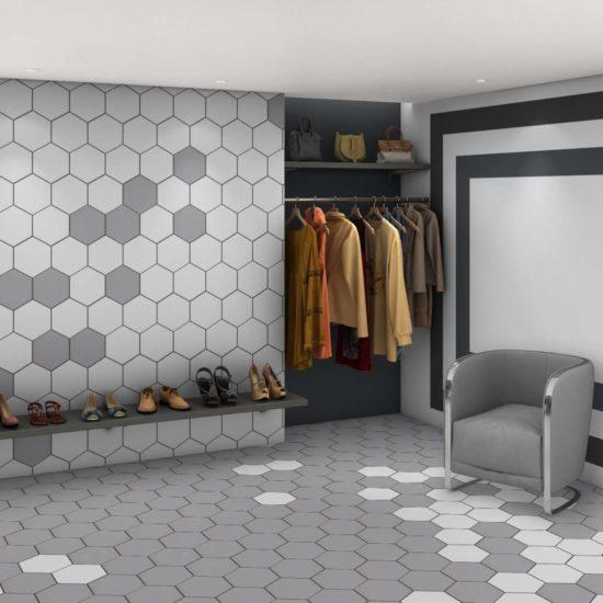 Hex Mosaic Texture White Matt - 231x267mm 1