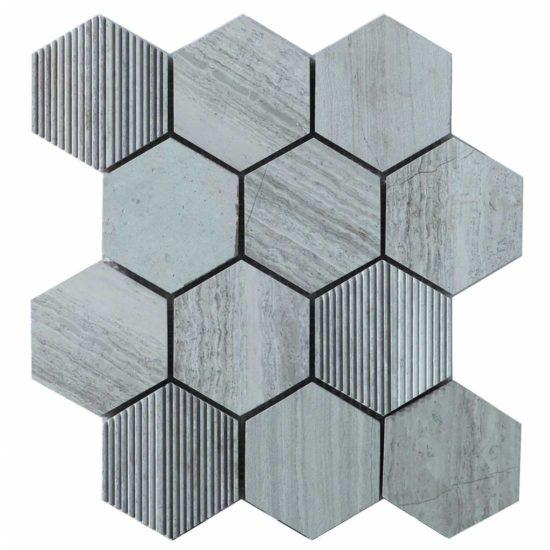 Hex Mosaic Texture White Matt - 231x267mm 2